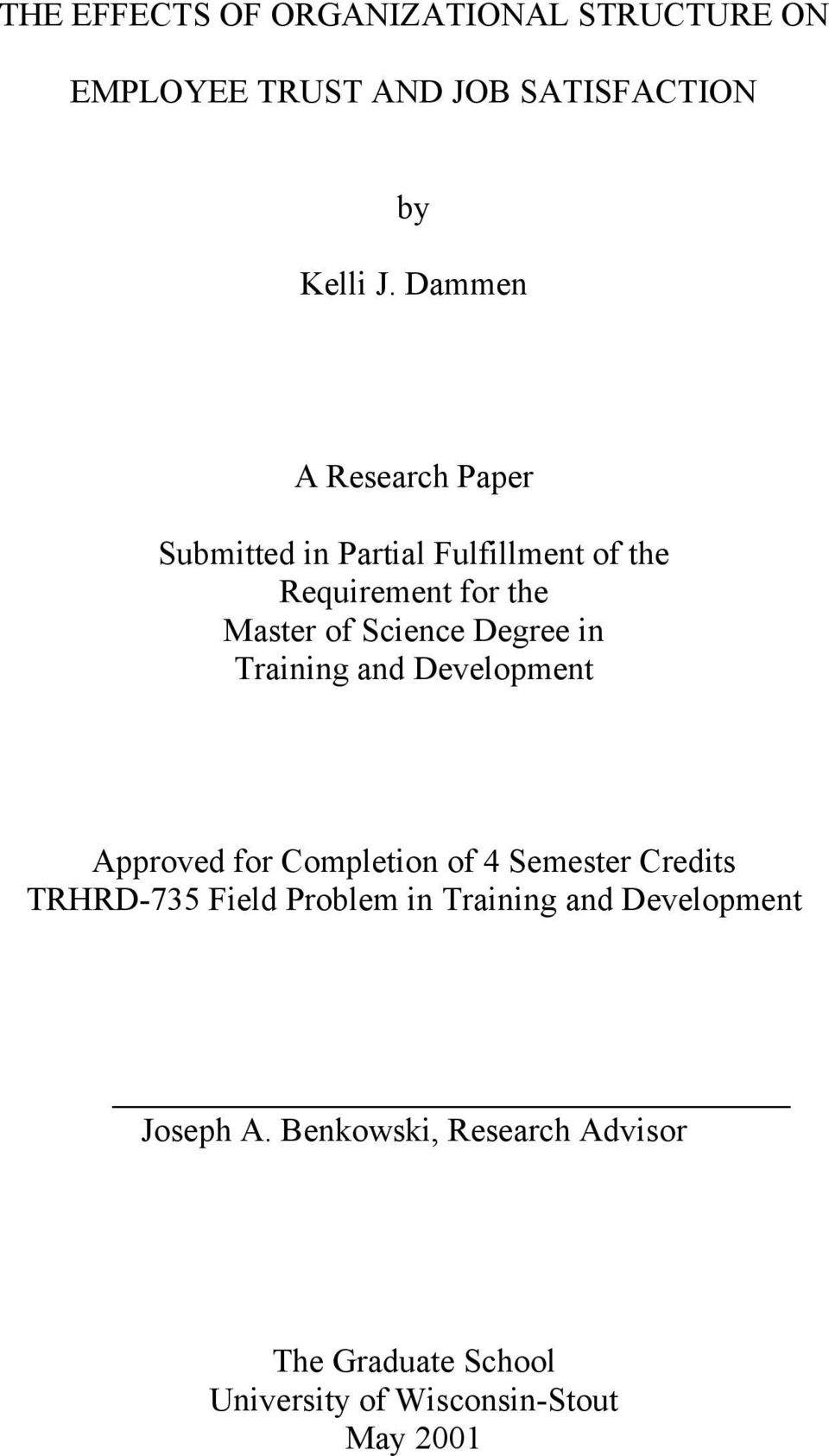 Degree in Training and Development Approved for Completion of 4 Semester Credits TRHRD-735 Field Problem