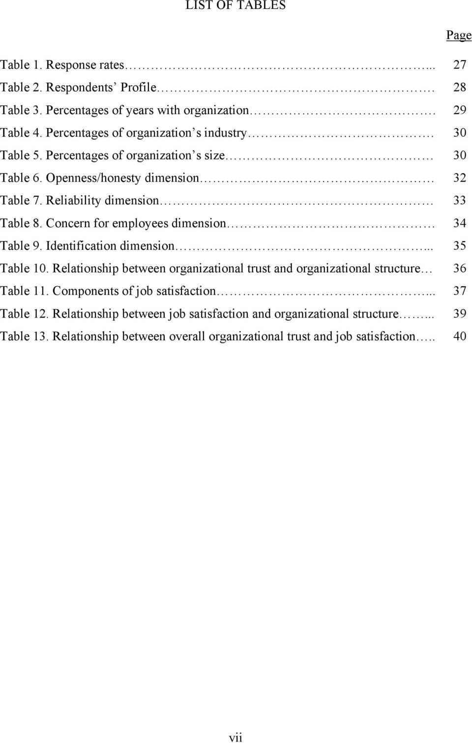 Concern for employees dimension 34 Table 9. Identification dimension... 35 Table 10. Relationship between organizational trust and organizational structure 36 Table 11.