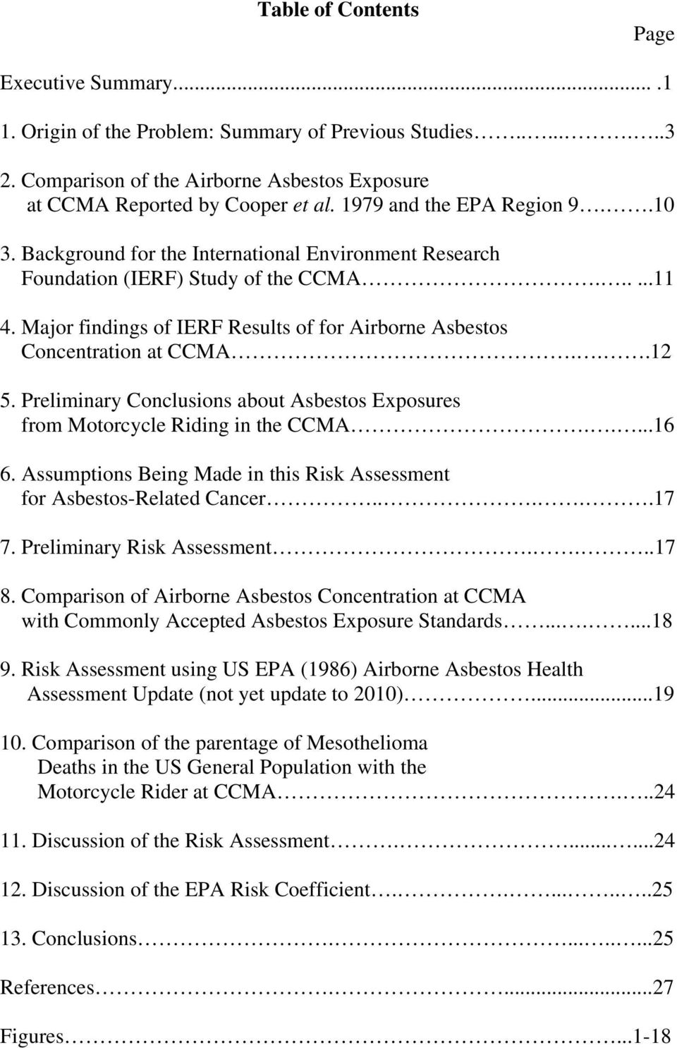 Major findings of IERF Results of for Airborne Asbestos Concentration at CCMA...12 5. Preliminary Conclusions about Asbestos Exposures from Motorcycle Riding in the CCMA.....16 6.