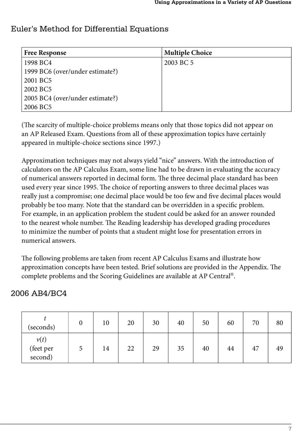 Questions from all of these approximation topics have certainly appeared in multiple-choice sections since 1997.) Approximation techniques may not always yield nice answers.