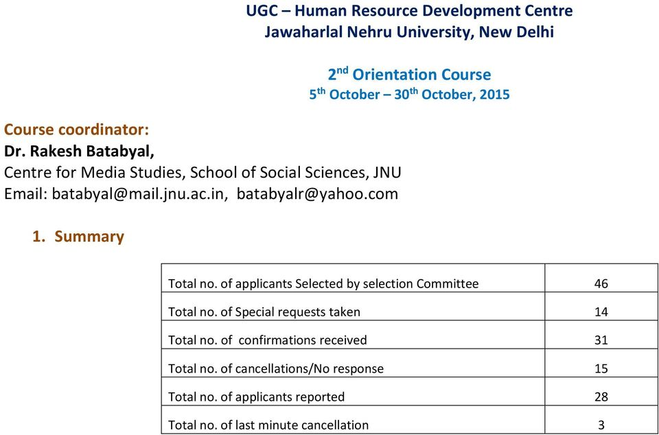 Summary UGC Human Resource Development Centre Jawaharlal Nehru University, New Delhi 2 nd Orientation Course 5 th October 30 th October,
