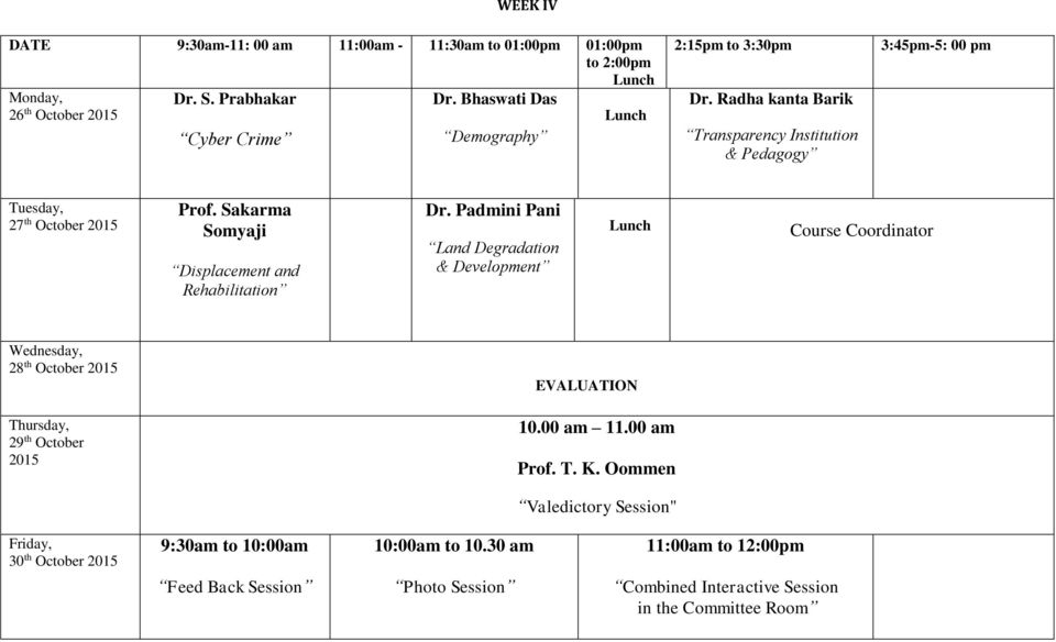 Radha kanta Barik Transparency Institution & Pedagogy 3:45pm-5: 00 pm 27 th October 2015 Prof. Sakarma Somyaji Displacement and Rehabilitation Dr.