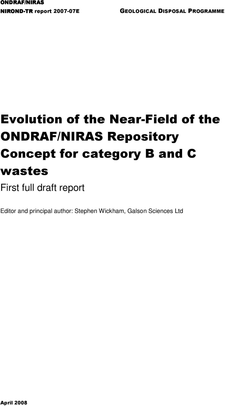 Repository Concept for category B and C wastes First full draft