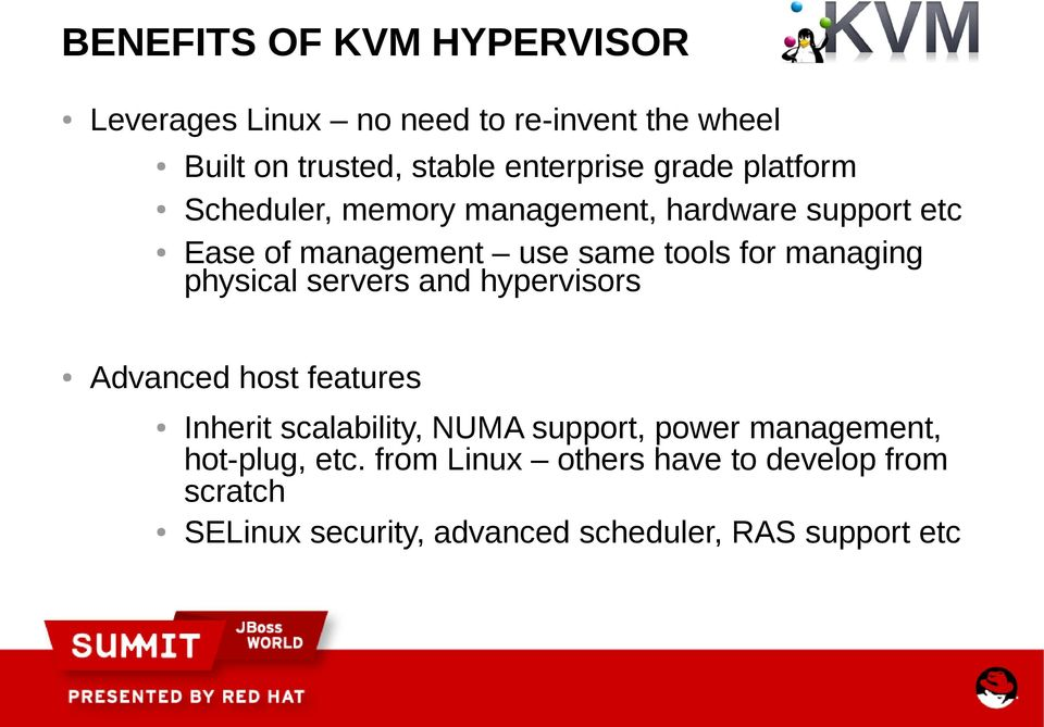 managing physical servers and hypervisors Advanced host features Inherit scalability, NUMA support, power