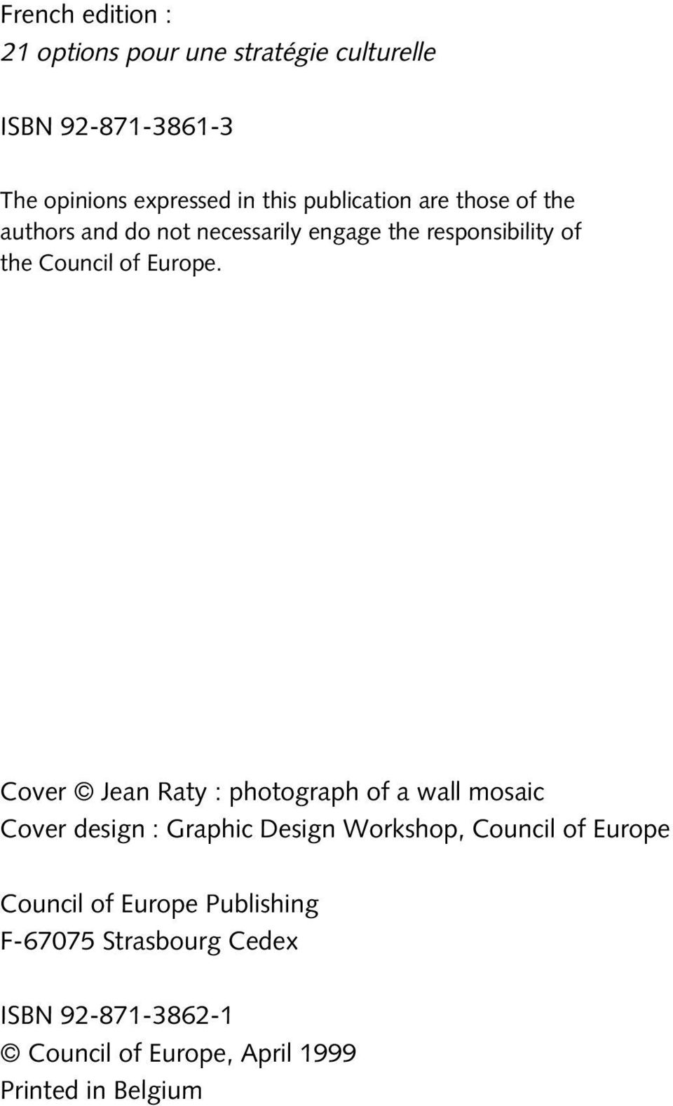 Cover Jean Raty : photograph of a wall mosaic Cover design : Graphic Design Workshop, Council of Europe Council
