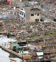 The typhoon affected 16 million people, claimed more than 6,300 lives, and displaced 4.1 million. The coastal city of Tacloban was the worst affected area.