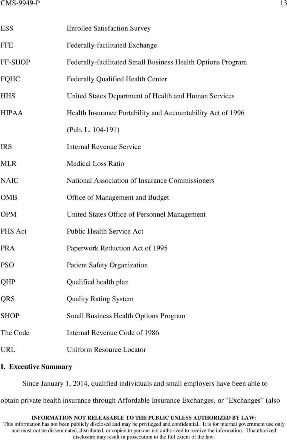 104-191) IRS MLR NAIC OMB OPM PHS Act Internal Revenue Service Medical Loss Ratio National Association of Insurance Commissioners Office of Management and Budget United States Office of Personnel