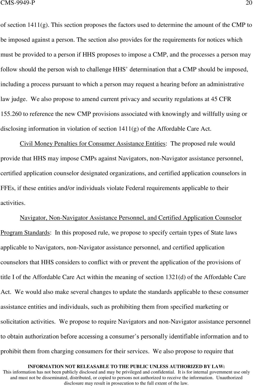 challenge HHS determination that a CMP should be imposed, including a process pursuant to which a person may request a hearing before an administrative law judge.