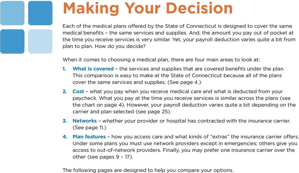 When it comes to choosing a medical plan, there are four main areas to look at: 1. What is covered the services and supplies that are covered benefits under the plan.