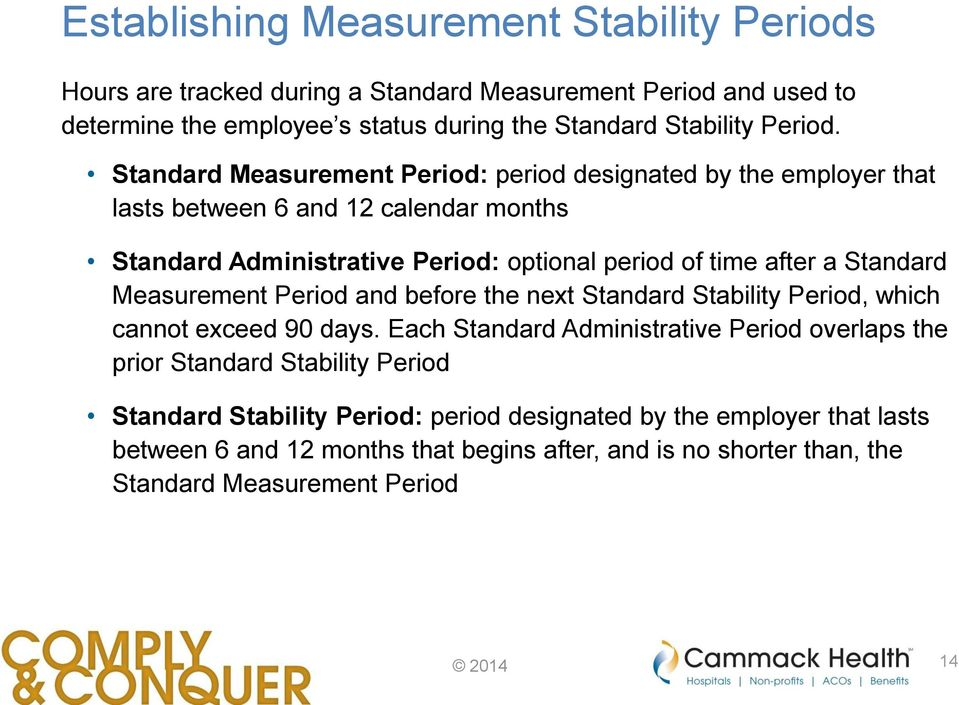 Standard Measurement Period: period designated by the employer that lasts between 6 and 12 calendar months Standard Administrative Period: optional period of time after a