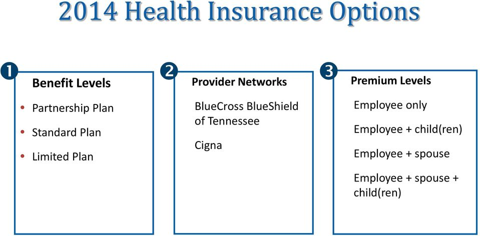 BlueShield of Tennessee Cigna Premium Levels Employee only