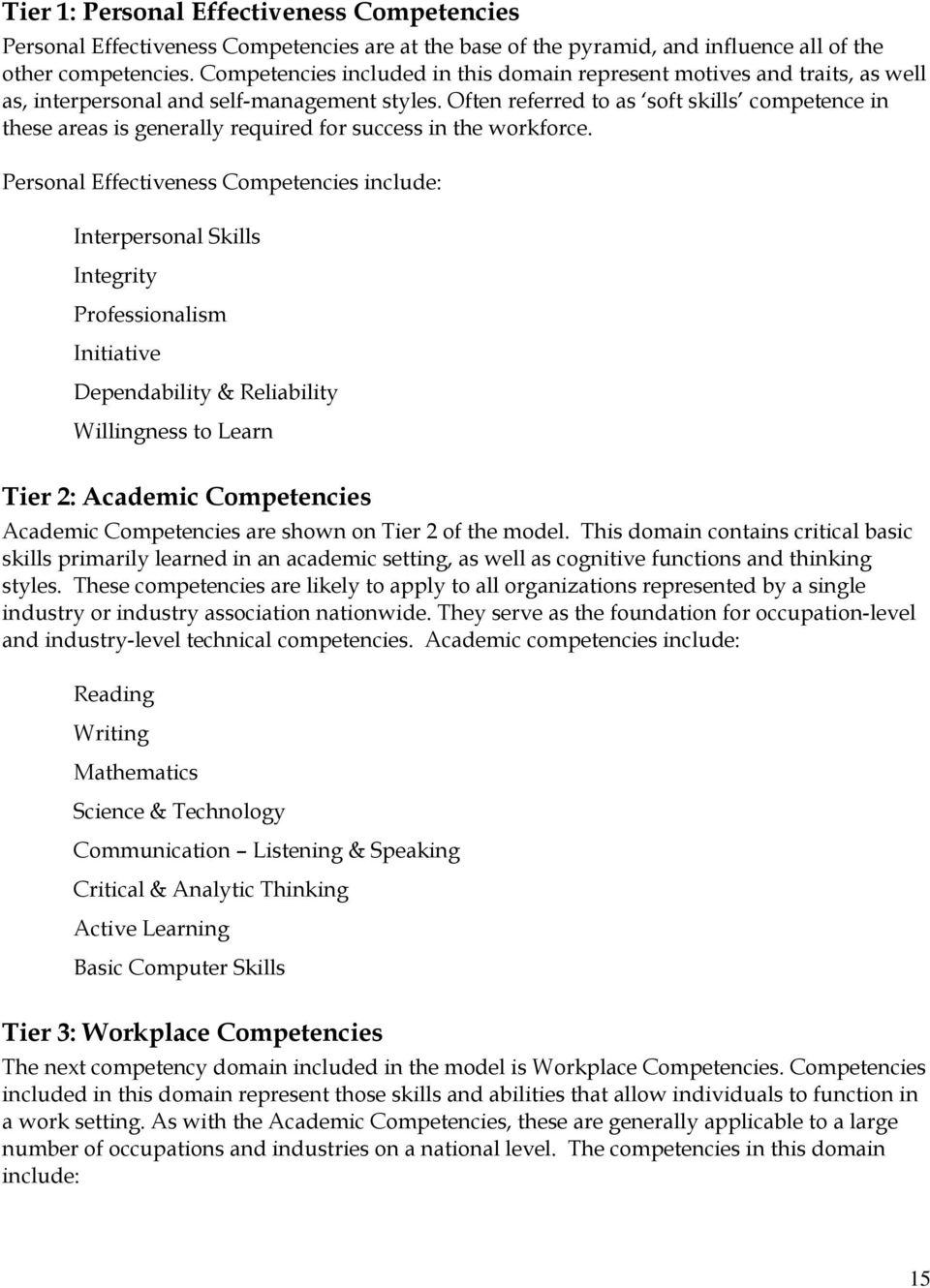 technical assistance guide for developing and using competency often referred to as soft skills competence in these areas is generally required for success in