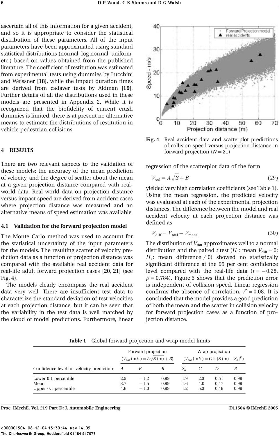 The coefficient of restitution was estimated from experimental tests using dummies by Lucchini and Weissner [18], while the impact duration times are derived from cadaver tests by Aldman [19].