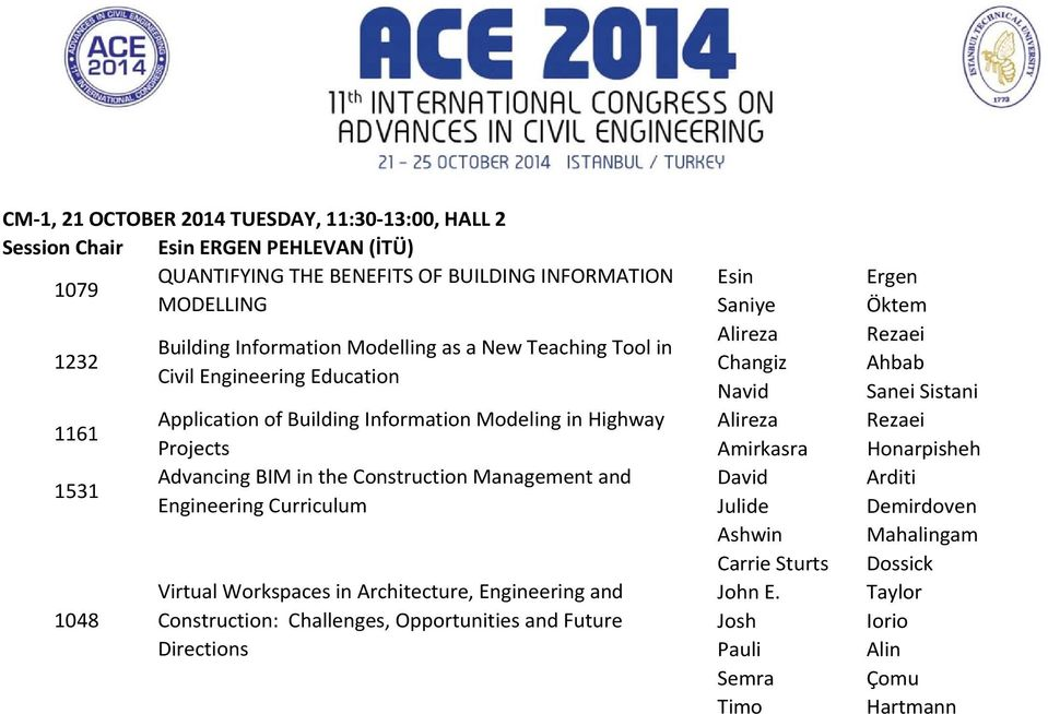and Engineering Curriculum Virtual Workspaces in Architecture, Engineering and Construction: Challenges, Opportunities and Future Directions Esin Saniye Alireza Changiz Navid Alireza