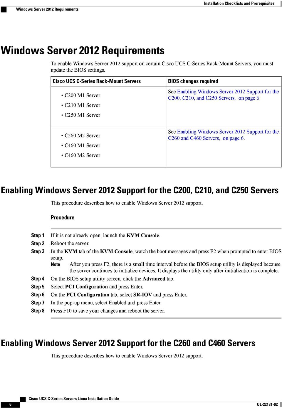 Cisco UCS C-Series Rack-Mount Servers C200 M1 Server C210 M1 Server C250 M1 Server BIOS changes required See Enabling Windows Server 2012 Support for the C200, C210, and C250 Servers, on page 6.
