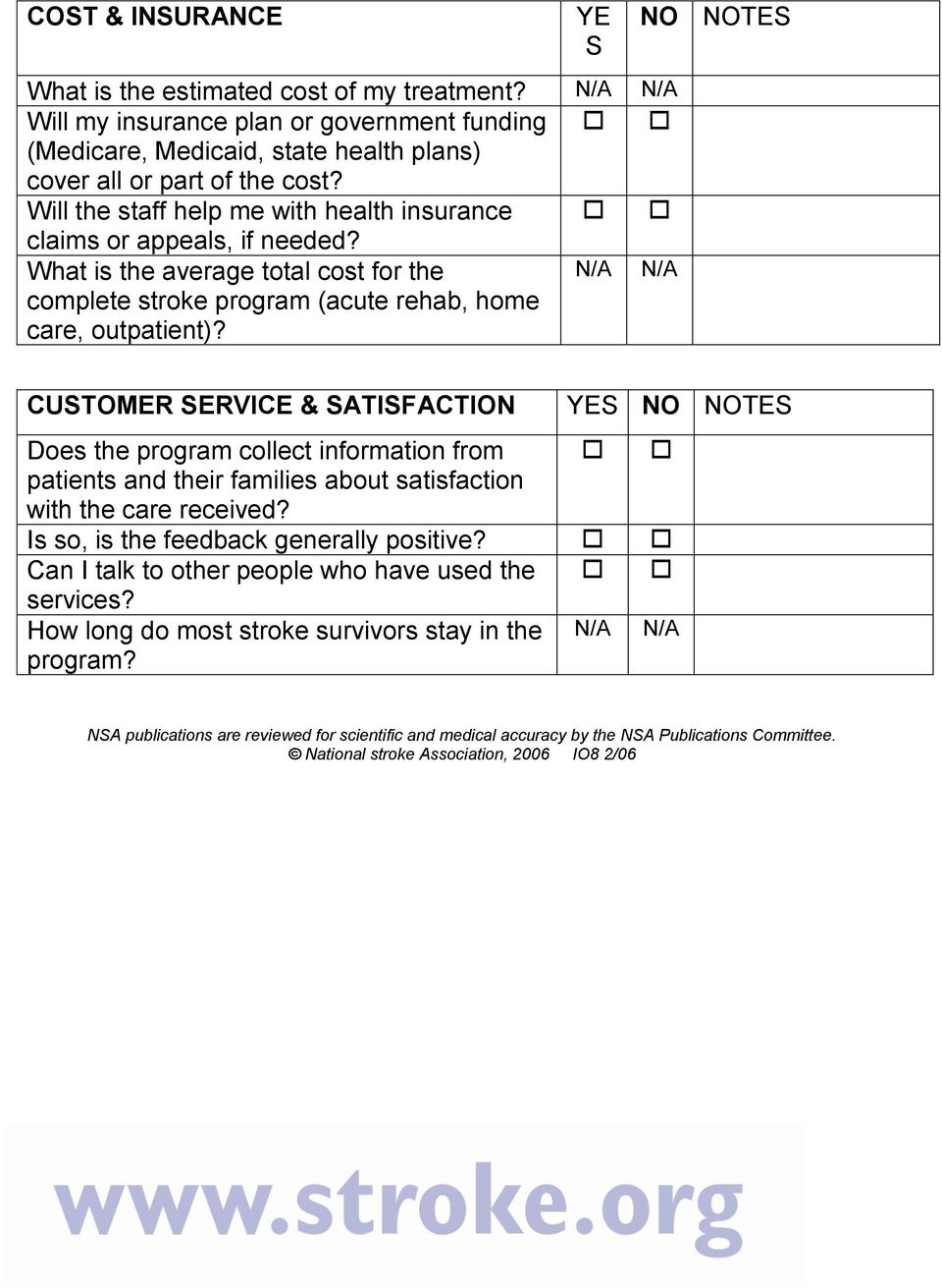 N/A N/A NO NOTES CUSTOMER SERVICE & SATISFACTION YES NO NOTES Does the program collect information from patients and their families about satisfaction with the care received?