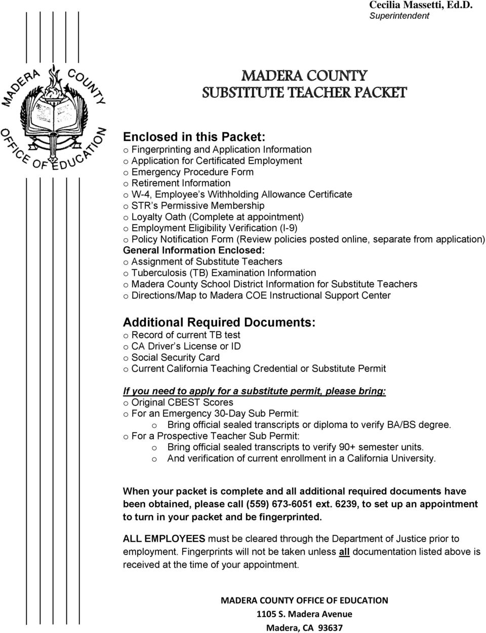 madera county substitute teacher packet pdf retirement information o w 4 employee s holding allowance certificate o str s permissive