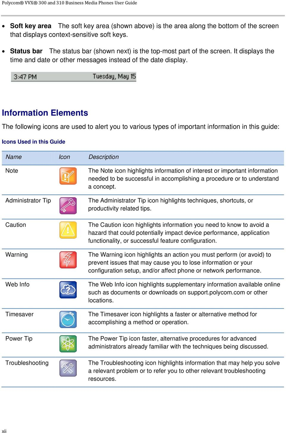 Information Elements The following icons are used to alert you to various types of important information in this guide: Icons Used in this Guide Name Icon Description Note Administrator Tip Caution