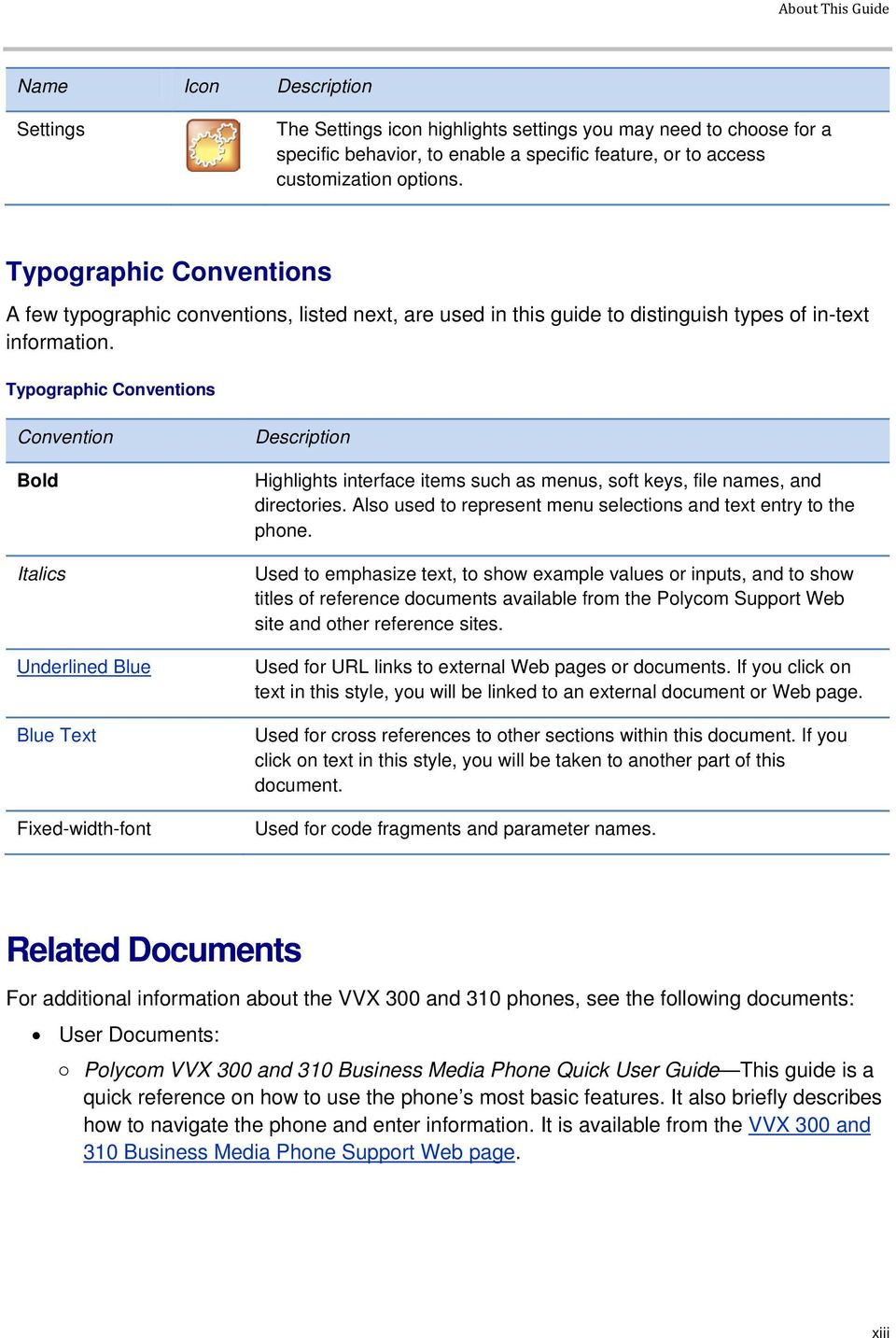 Typographic Conventions Convention Bold Italics Underlined Blue Blue Text Fixed-width-font Description Highlights interface items such as menus, soft keys, file names, and directories.