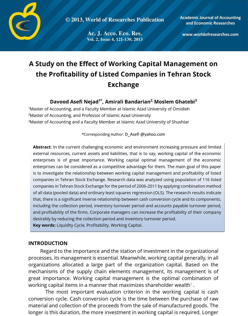 research articles on working capital management and profitability Iracst- international journal of research in management & technology study on the working capital management profitability and working capital management of.