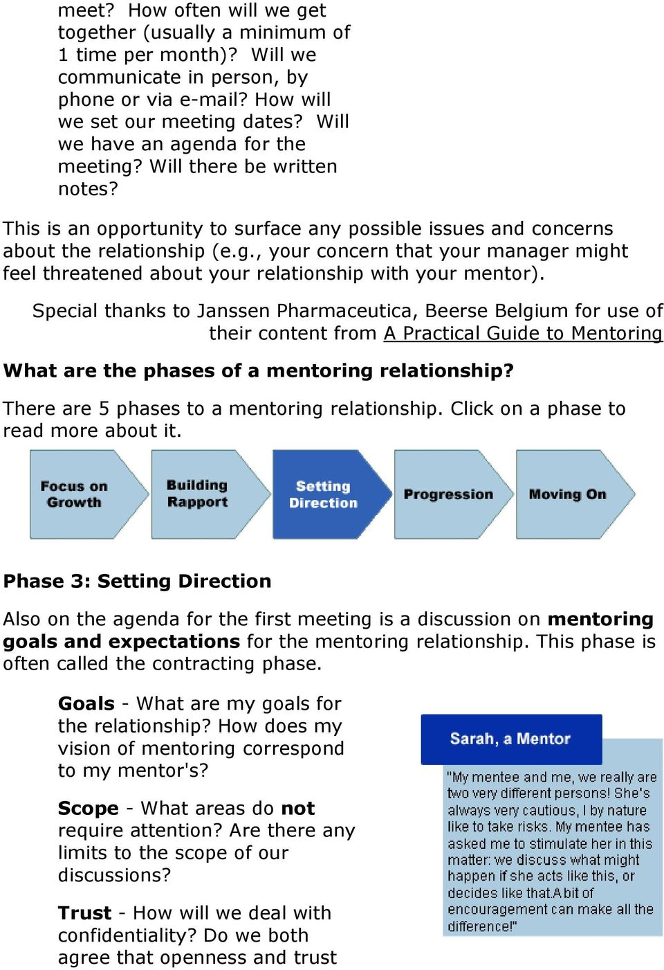 Special thanks to Janssen Pharmaceutica, Beerse Belgium for use of their content from A Practical Guide to Mentoring What are the phases of a mentoring relationship?