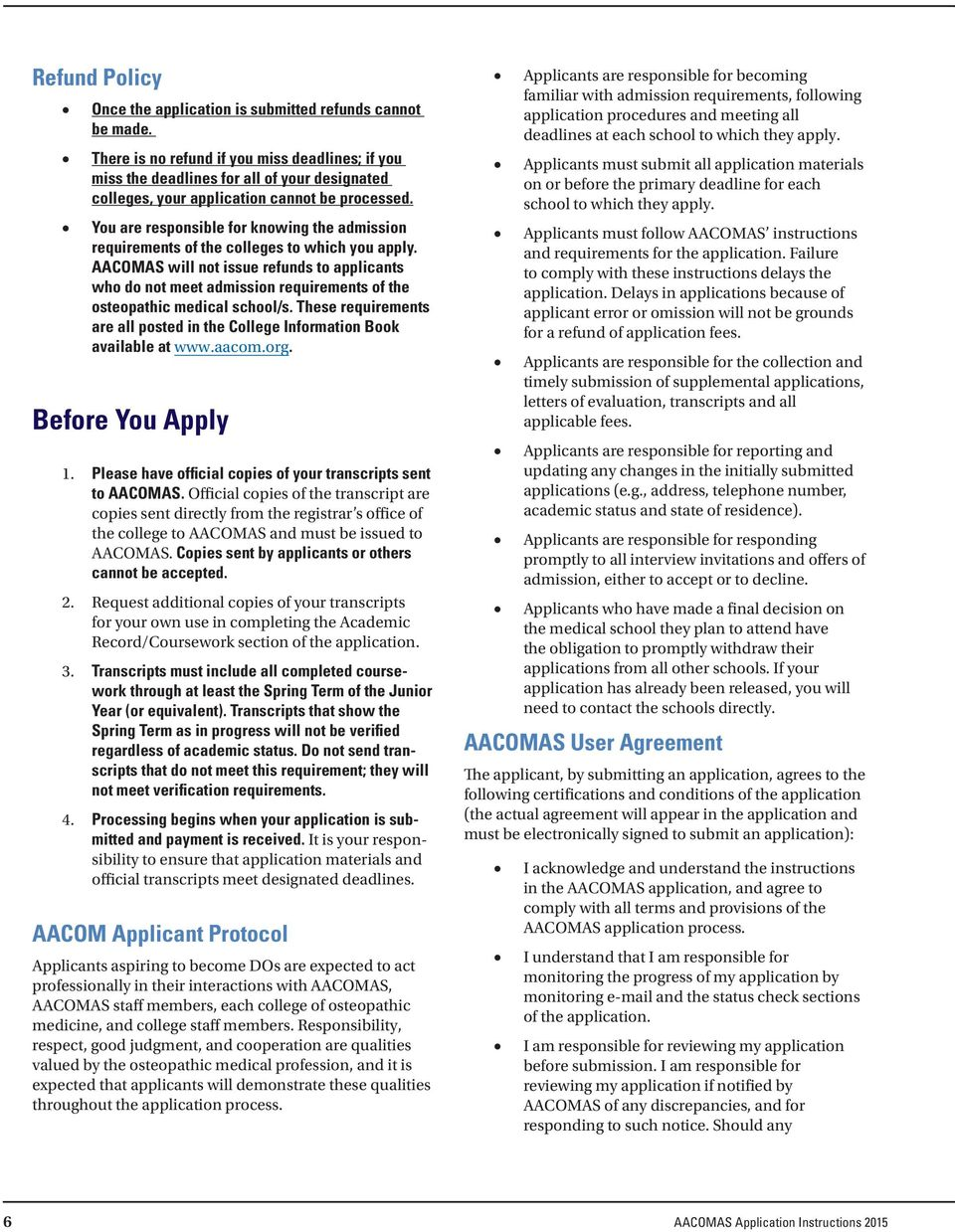 Aacomas Application Instructions For Entering Class Pdf