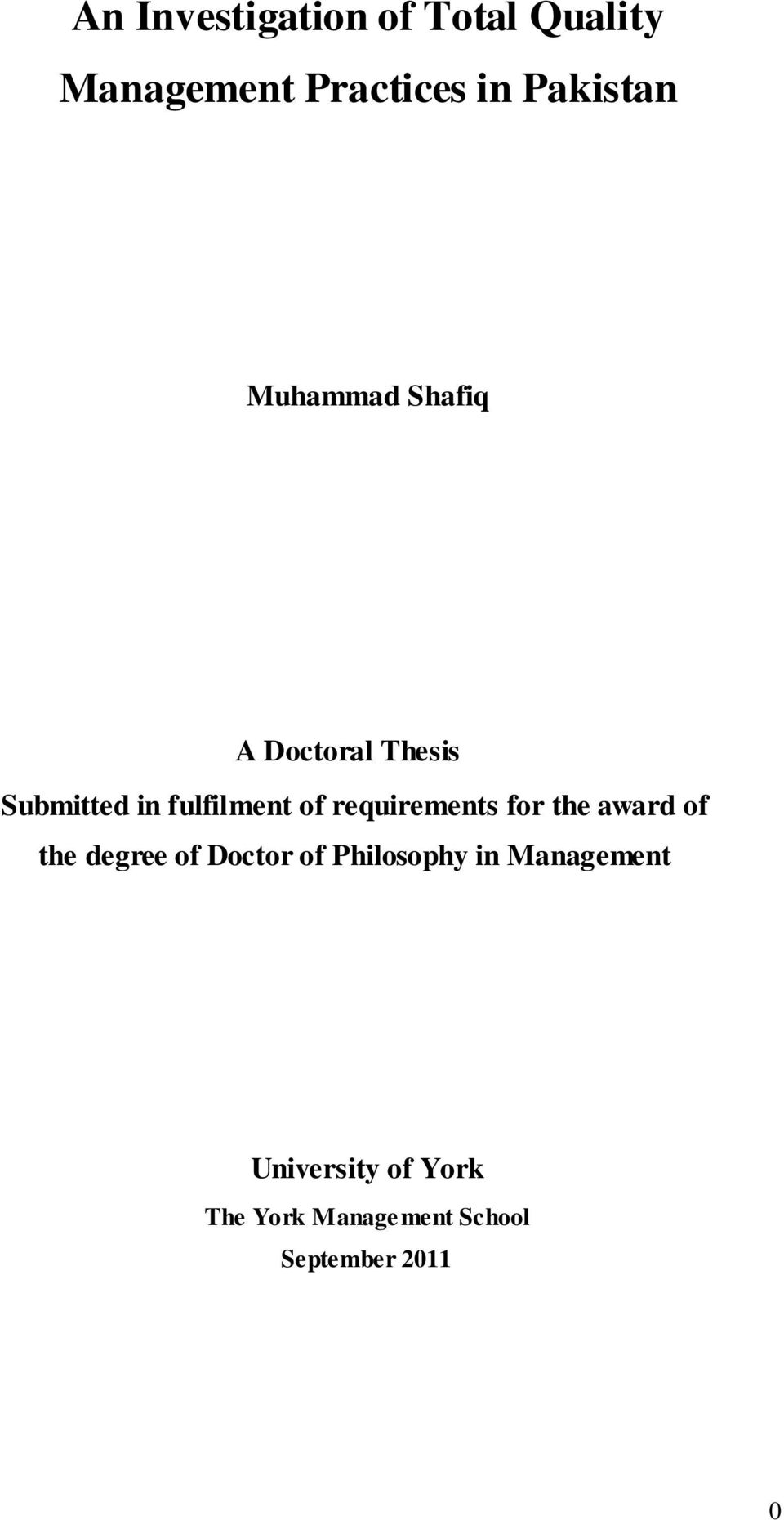 requirements for the award of the degree of Doctor of Philosophy in