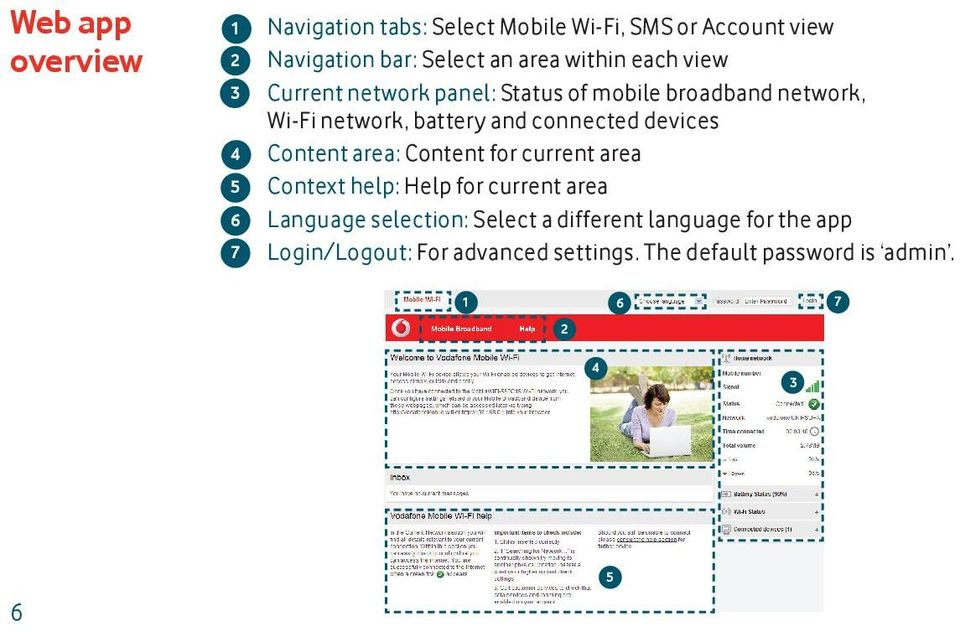connected devices Content area: Content for current area Context help: Help for current area Language selection: