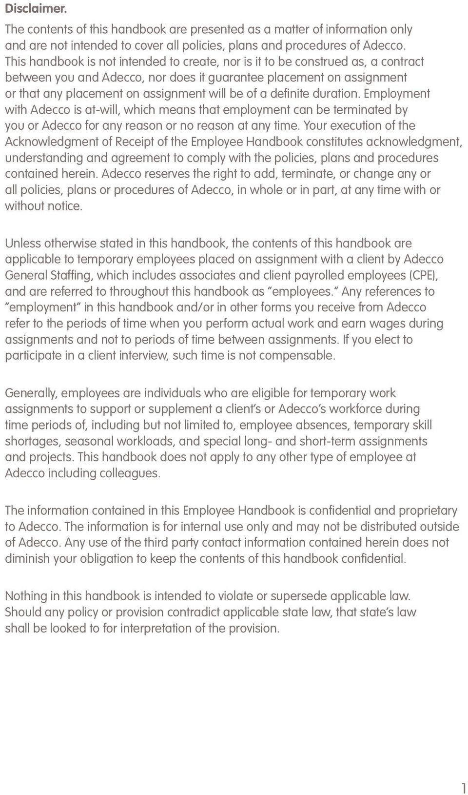 Employee Handbook Assignment MGT 434 (7 Pages | 2067 Words)