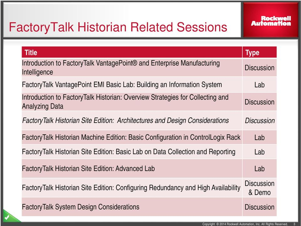 Edition: Basic Configuration in ControlLogix Rack FactoryTalk Historian Site Edition: Basic Lab on Data Collection and Reporting FactoryTalk Historian Site Edition: Advanced Lab Type Discussion Lab