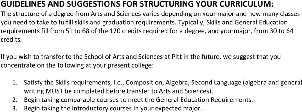 If you wish to transfer to the School of Arts and Sciences at Pitt in the future, we suggest that you concentrate on the following at your present college: 1. Satisfy the Skills requirements, i.e., Composition, Algebra, Second Language (algebra and general writing MUST be completed before transfer to Arts and Sciences).