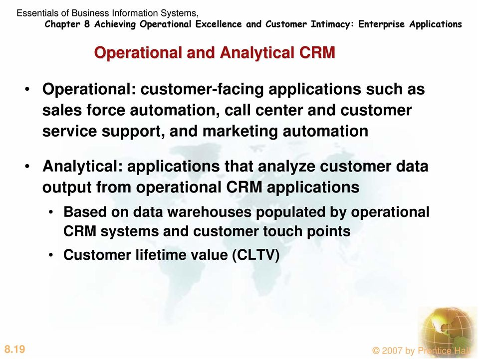 applications that analyze customer data output from operational CRM applications Based on data