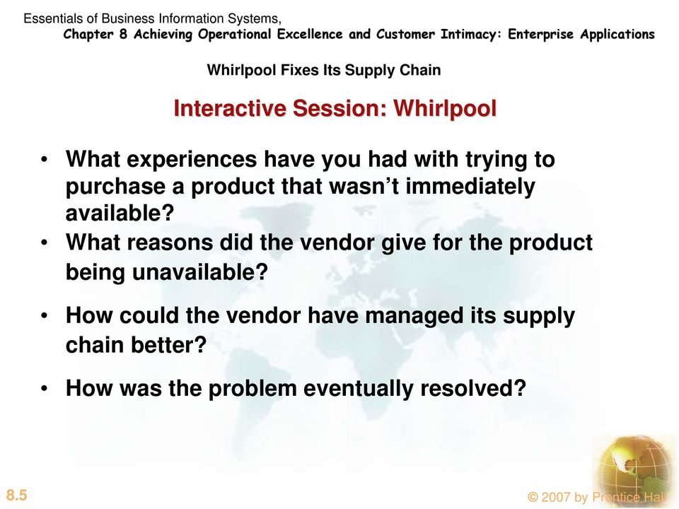What reasons did the vendor give for the product being unavailable?
