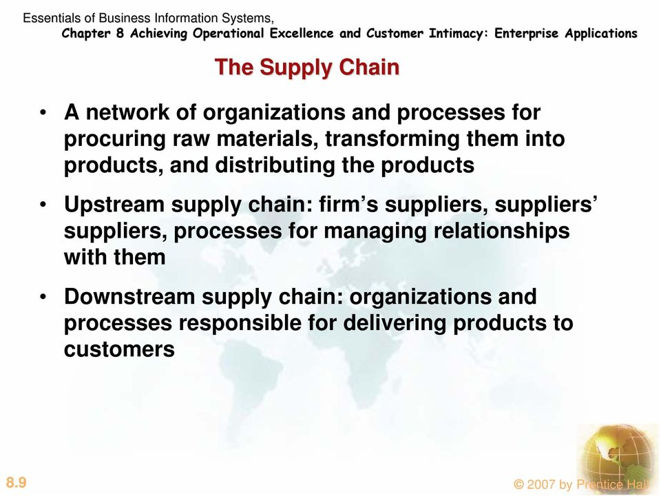 suppliers, suppliers suppliers, processes for managing relationships with them Downstream supply