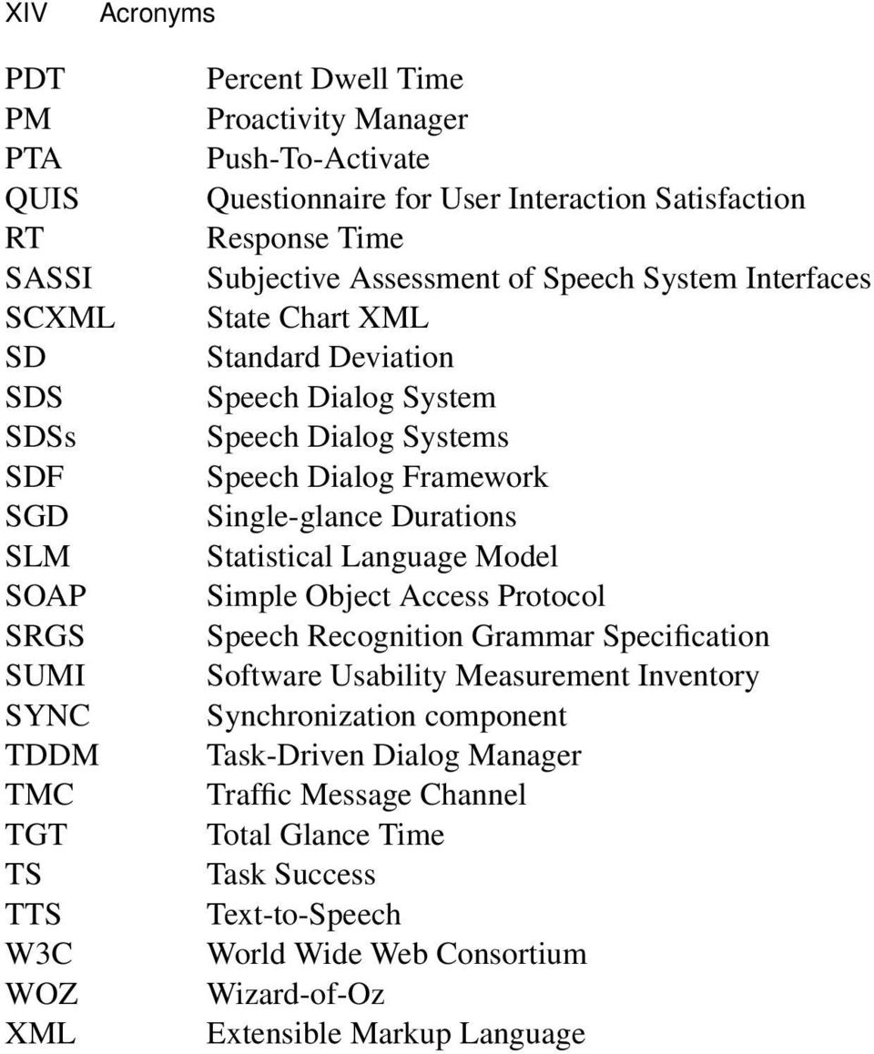 Systems Speech Dialog Framework Single-glance Durations Statistical Language Model Simple Object Access Protocol Speech Recognition Grammar Specification Software Usability Measurement