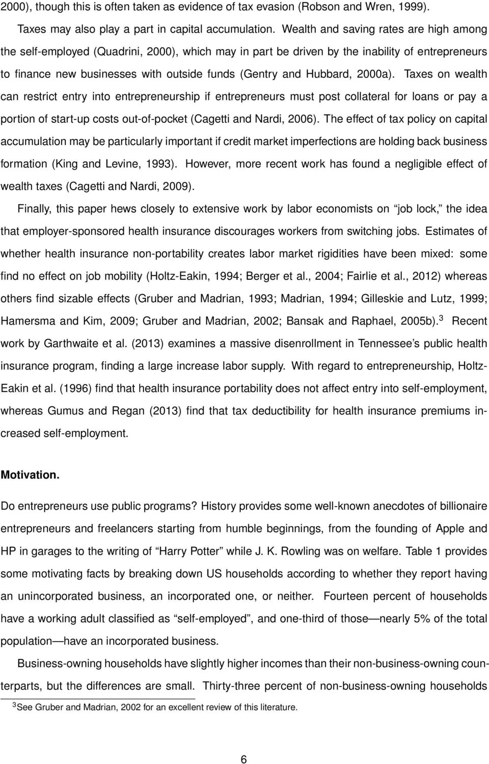 Hubbard, 2000a). Taxes on wealth can restrict entry into entrepreneurship if entrepreneurs must post collateral for loans or pay a portion of start-up costs out-of-pocket (Cagetti and Nardi, 2006).