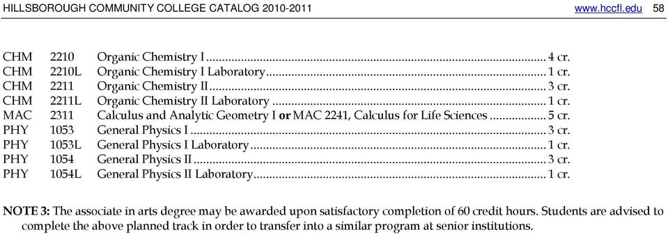 MAC 2311 Calculus and Analytic Geometry I or MAC 2241, Calculus for Life Sciences... 5 cr. PHY 1053 General Physics I... 3 cr.