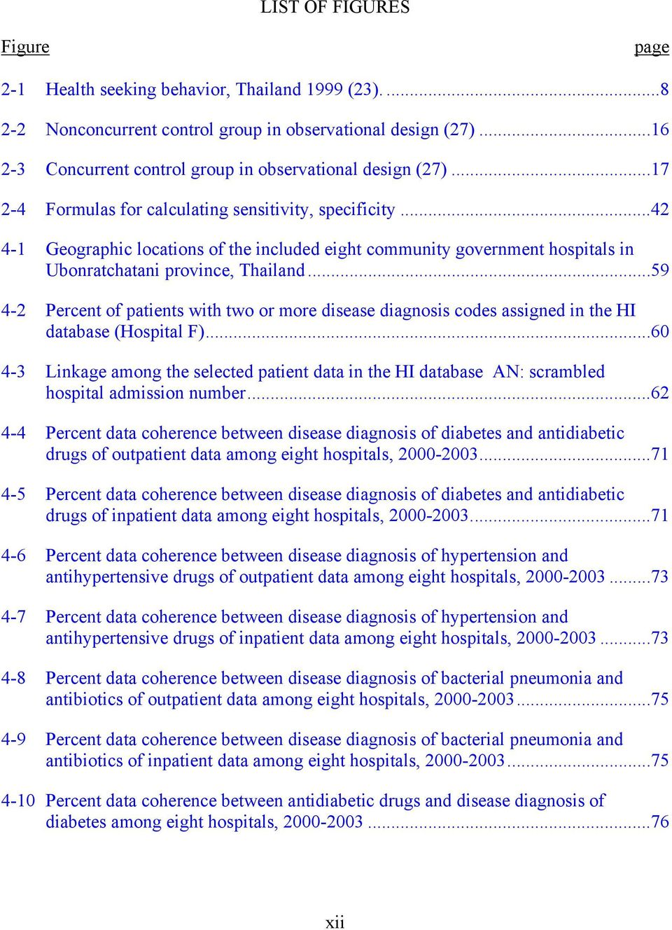 ..42 4-1 Geographic locations of the included eight community government hospitals in Ubonratchatani province, Thailand.