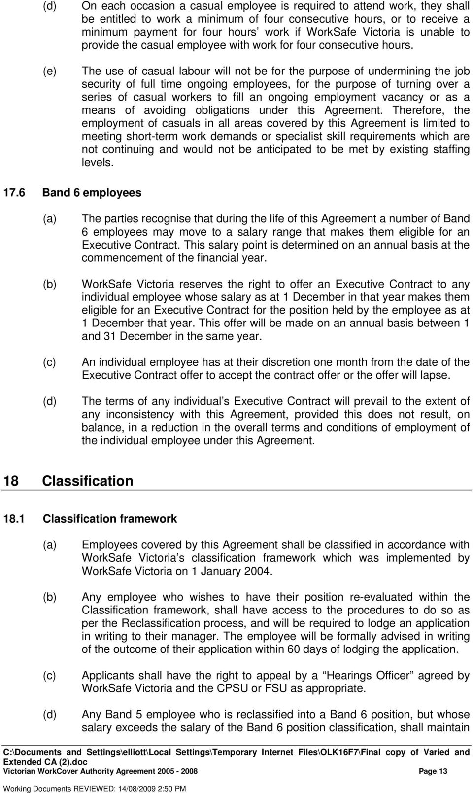VICTORIAN WORKCOVER AUTHORITY AGREEMENT known as WORKSAFE – Casual Employment Agreement