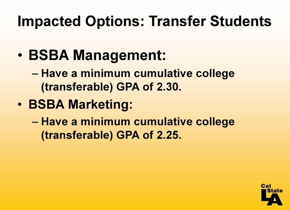 (transferable) GPA of 2.30.