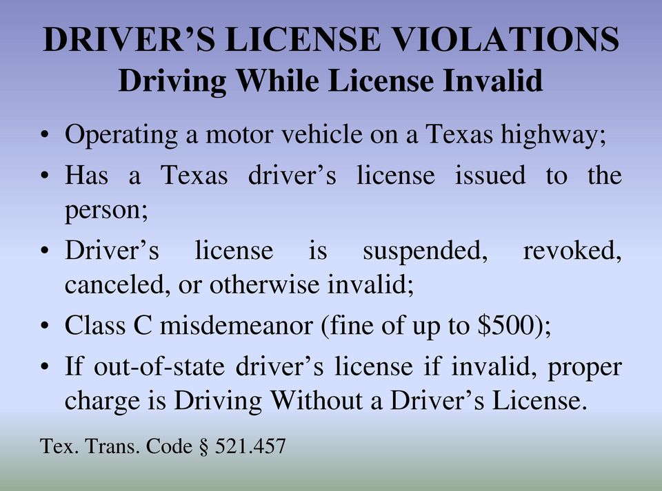revoked, canceled, or otherwise invalid; Class C misdemeanor (fine of up to $500); If