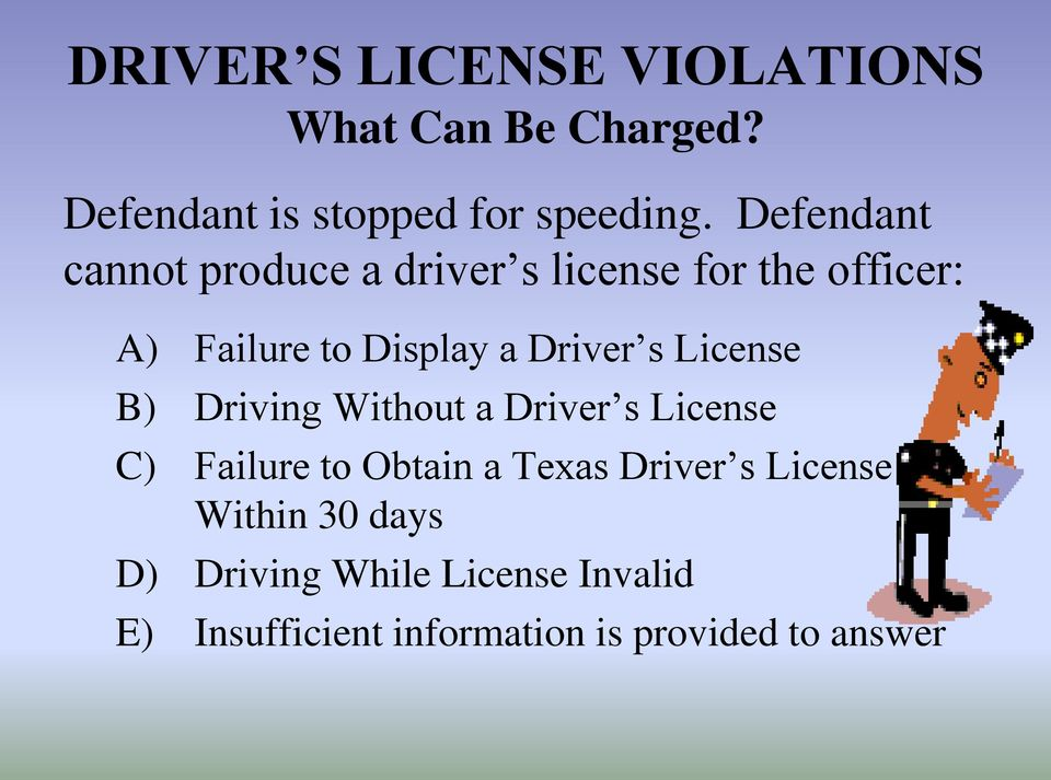 s License B) Driving Without a Driver s License C) Failure to Obtain a Texas Driver s