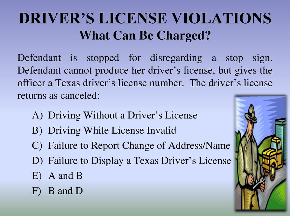 The driver s license returns as canceled: A) Driving Without a Driver s License B) Driving While License
