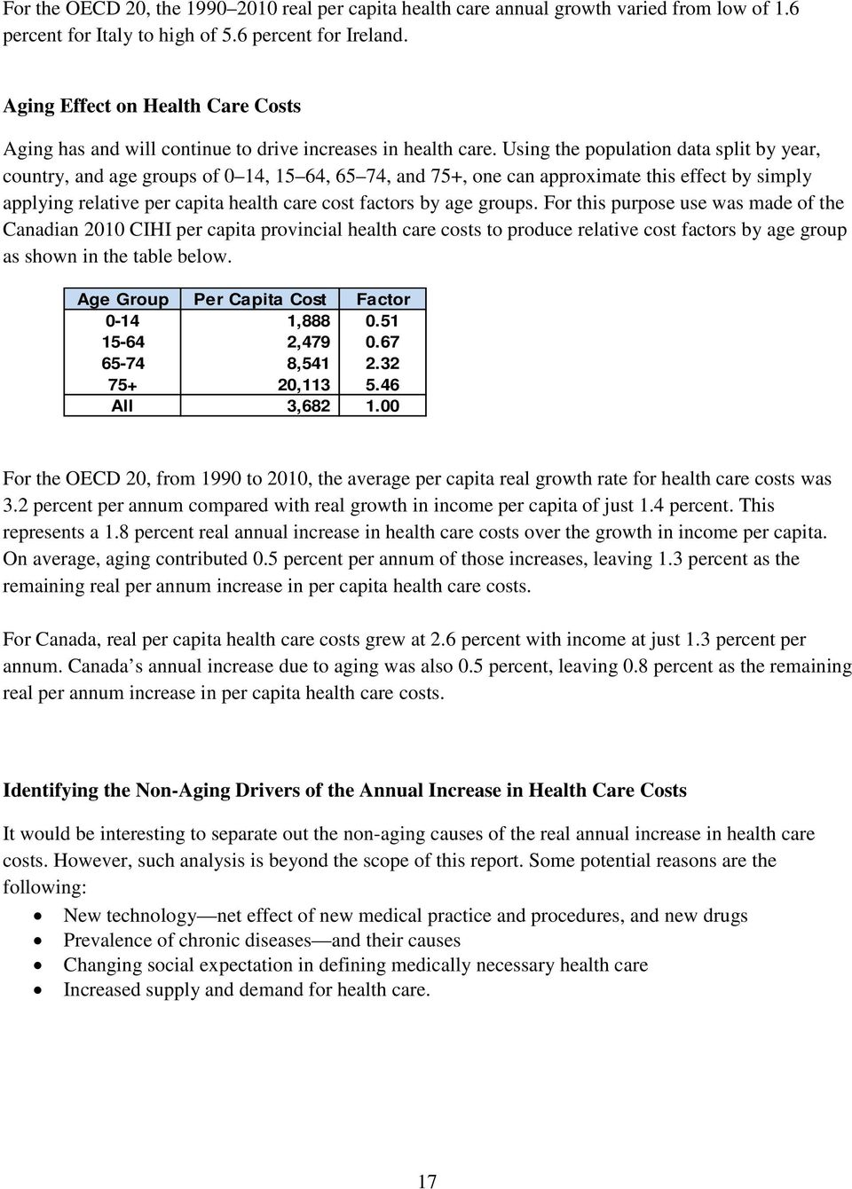 Using the population data split by year, country, and age groups of 0 14, 15 64, 65 74, and 75+, one can approximate this effect by simply applying relative per capita health care cost factors by age