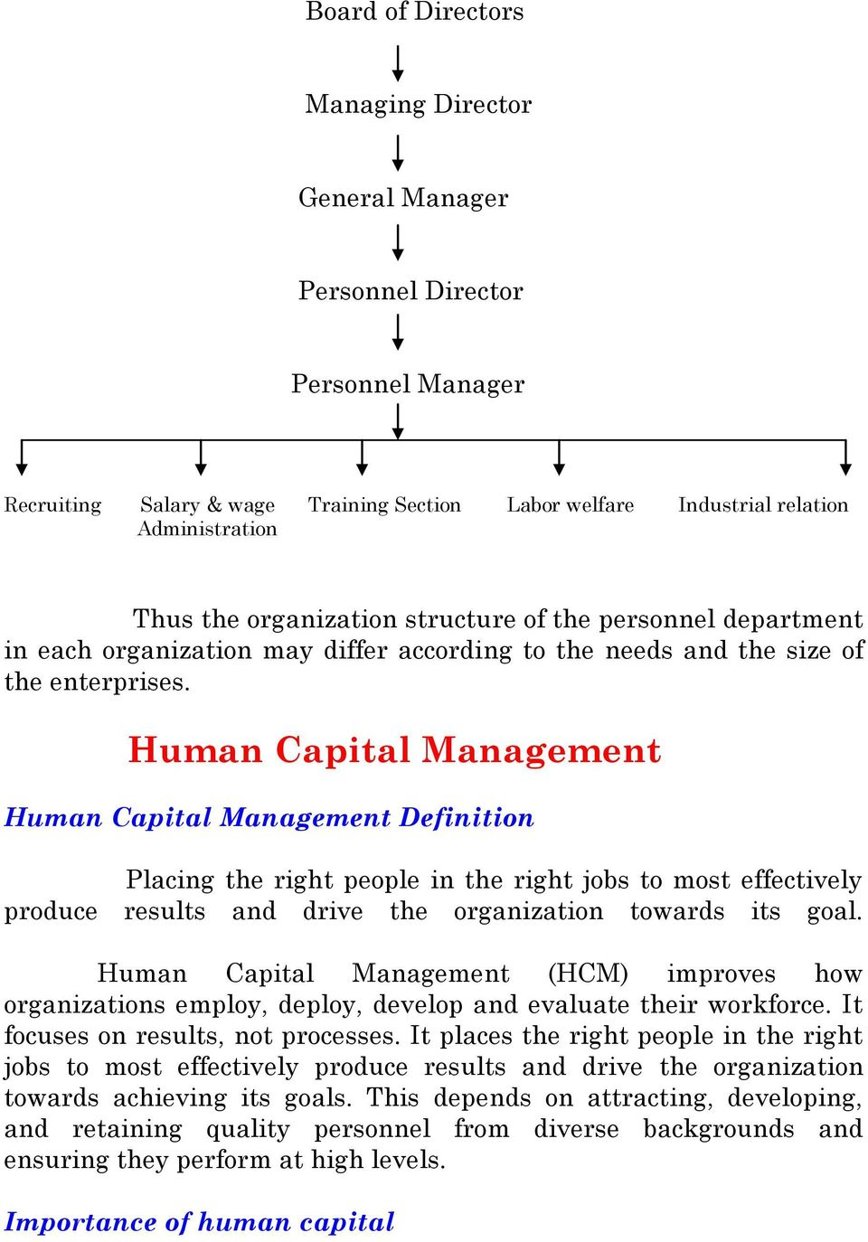 Human Capital Management Human Capital Management Definition Placing the right people in the right jobs to most effectively produce results and drive the organization towards its goal.