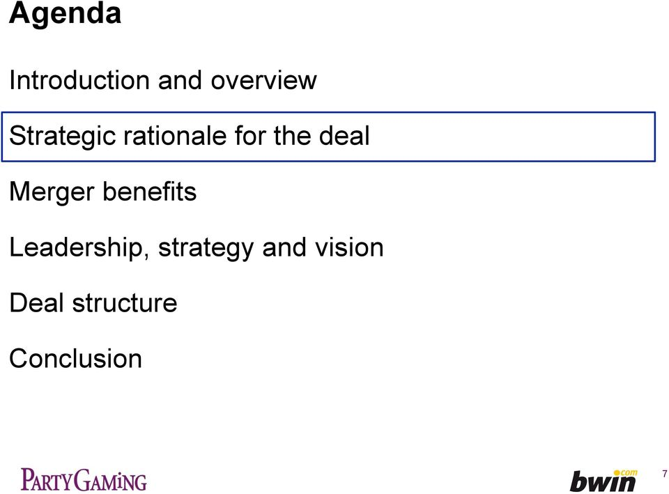 benefits Leadership, strategy and vision
