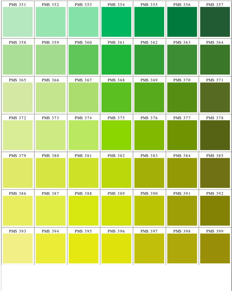 Pantone Matching System Color Chart PMS Colors Used For Printing - PDF