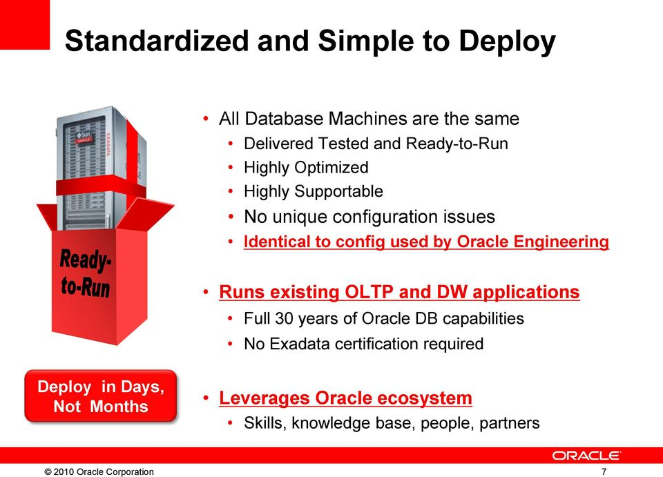 existing OLTP and DW applications Full 30 years of Oracle DB capabilities No Exadata certification required