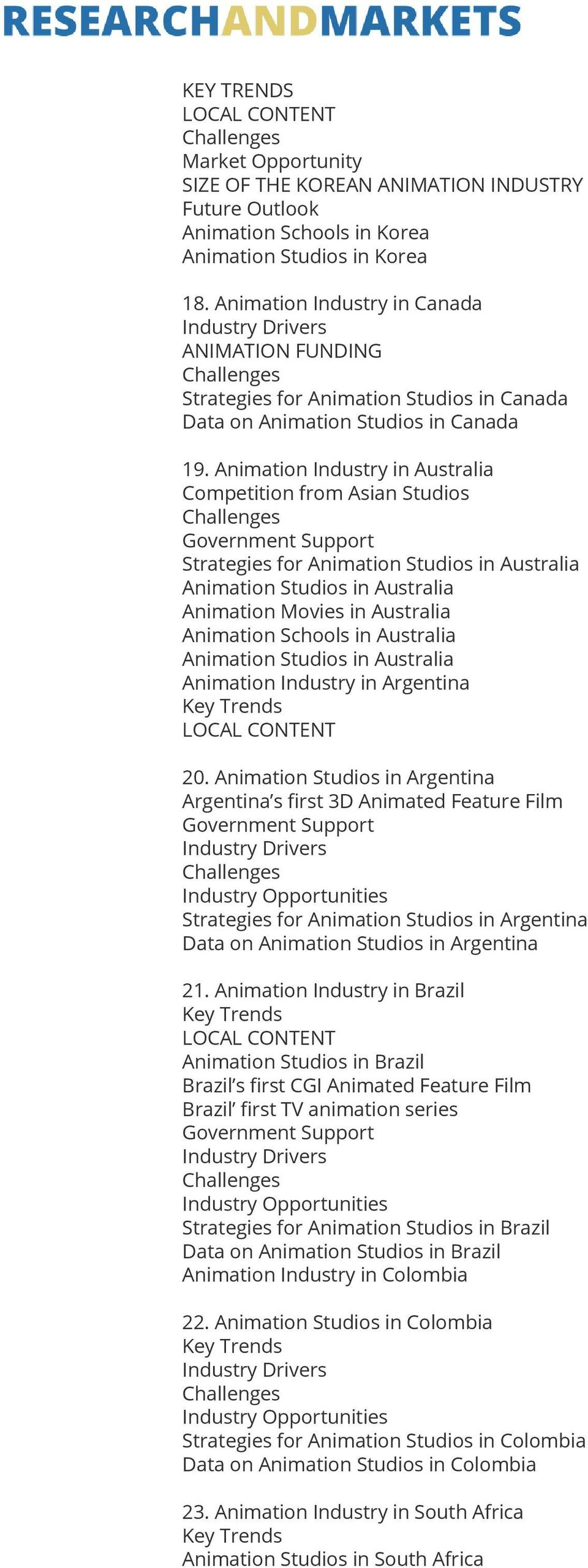 Animation Industry in Australia Competition from Asian Studios Government Support Strategies for Animation Studios in Australia Animation Studios in Australia Animation Movies in Australia Animation
