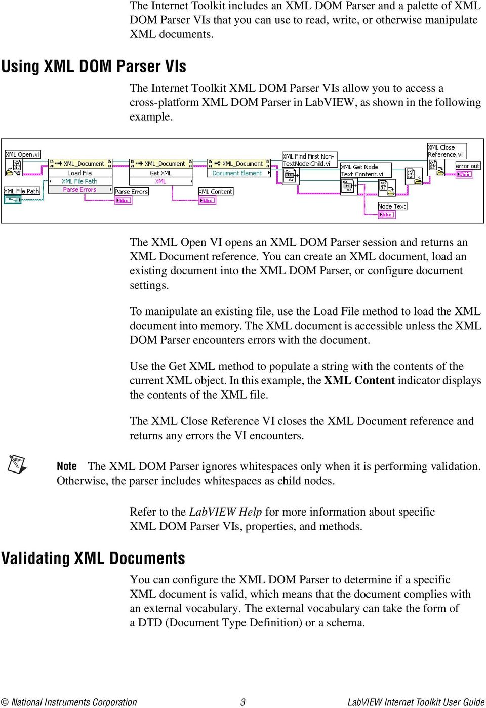 The XML Open VI opens an XML DOM Parser session and returns an XML Document reference.